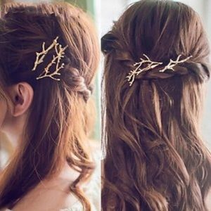 Accessories - ARRIVED! Gold Tone Tree Branch Hair Pins Pair